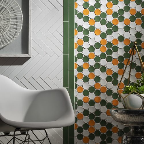 Ka-Nu Ceramic Tile Tropic and Sandbar Wall behind Chair