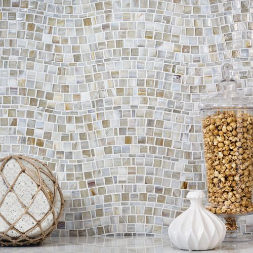 Agate Glass Tile Rio Pattern in Cortona Pearl with Decorative Objects