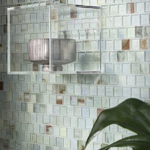 Haisen 1x1 Aqua Natural Glass Tile Wall