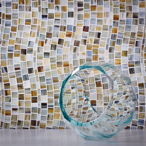 Tozen Rio Xenon Natural Glass Tile Wall behind Decoration