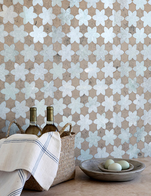 New Ravenna Cadiz Tile Mosaic Backsplash in Kitchen with Wine Bottles