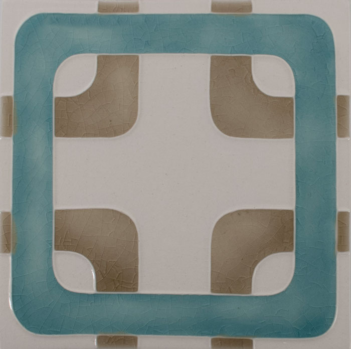 Pratt and Larson Tile Motif J white lagoon clay