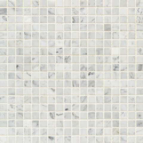 Bianco Carrara Honed Stone Straight Joint Mosaic