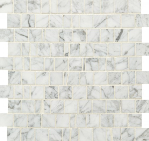 Bianco Carrara Polished Stone Broken Joint Mosaic